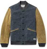 Neighborhood Indigo Dyed Cotton Blend Corduroy And Uede Varity Jacket Indigo