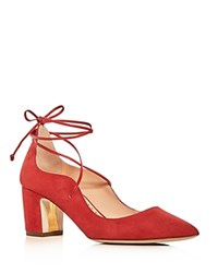 Rupert Sanderson Poet Lace Up Pointed Toe Pumps Red