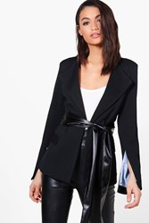 Boohoo Woven Textured Blazer With Pu Belt Black