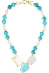Bounkit Gold Tone Quartz And Chalcedony Necklace Metallic