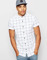 New Look Short Sleeve Shirt With Grandad Neck And Grid Print White