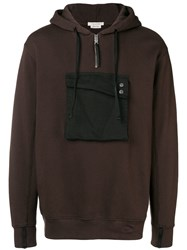Alyx Contrast Patch Hooded Sweatshirt Brown