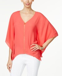 Thalia Sodi Zipper Front Cape Tunic Only At Macy's Hibiscus Bloom