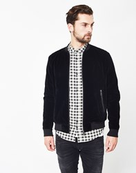 The Idle Man Velvet Bomber Jacket Black