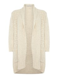 Repeat Cashmere Textured Open Cardigan Cream