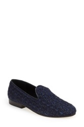 Cb Made In Italy Tweed Smoking Slipper Loafer Women Blue