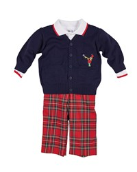 Florence Eiseman Tartan Plaid Pants Knit Sweater And Long Sleeve Polo Top Size 12 24 Months Multi