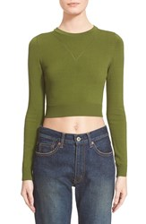Women's Opening Ceremony Cutout Long Sleeve Crewneck Crop Top Olive Multi