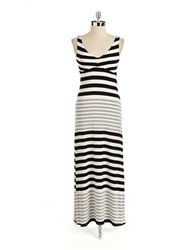 Red Haute Striped Jersey Maxi Dress Black Grey