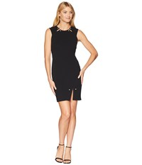 Bebe Pearl Bar Slit Bodycon Dress Black