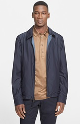 Canali Reversible Wool And Silk Jacket Navy