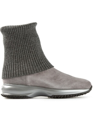 Hogan 'Interactive' Cuffed Boots Grey