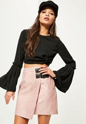Missguided Petite Exclusive Black Front Knot Crop Blouse