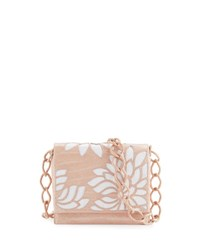 Nancy Gonzalez Gio Laser Cut Flower Crocodile Crossbody Bag Blush