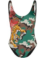 Mc2 Saint Barth Tiger Camouflage Print Open Back Swimsuit Green