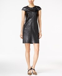Bar Iii Faux Leather Zip Detail Shift Dress Only At Macy's Deep Black