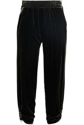 Mother Of Pearl Cropped Ruched Velvet Track Pants Army Green