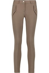 Michael Kors Collection Stretch Cotton And Modal Blend Leggings Taupe