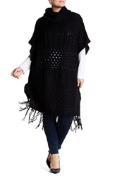 Love Token Fringe Cowl Neck Poncho Plus Size Available Black