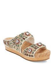 Alice Olivia Brianna Wooden Platform Beaded Leather Slide Sandals White Multi
