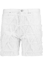 Isabel Marant Gustave Distressed Stretch Denim Shorts White