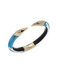 Alexis Bittar Lucite 10K Gold Plated Hinged Bangle Bracelet Blue Opal