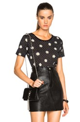 Saint Laurent Daisy Print Tee In Black Floral