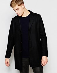 Pull And Bear Pullandbear Overcoat With Wool Blend In Black