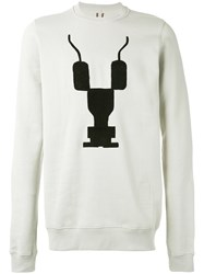 Rick Owens Drkshdw Embroidered Crewneck Sweatshirt Men Cotton L Grey