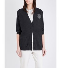 Brunello Cucinelli Crystal Embellished Knitted Cashmere Cardigan Black Stone