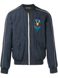 Nuur Embroidered Bomber Jacket Men Cotton Linen Flax Viscose 50 Blue