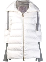 Herno Contrasting Sleeves Padded Coat White
