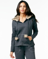 Alfani Faux Fur Fleece Hoodie Dark Heather Grey
