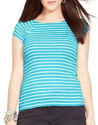 Lauren Ralph Lauren Plus Striped Ballet Neck Shirt Turquoise White