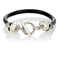 Alexander Mcqueen Men's Leather And Skull Charm Bracelet Black Blue Black Blue