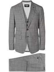 Dsquared2 Checked Three Piece Suit Grey