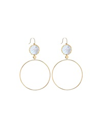 Lana Blanca 14K Mother Of Pearl Dangle Hoop Earrings