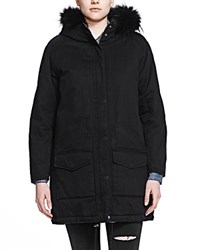 The Kooples Fur Trim Hooded Parka Black