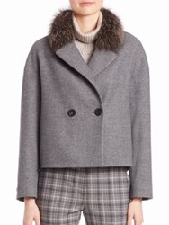 Peserico Fox Fur Trim Cropped Peacoat Charcoal