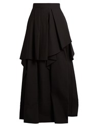 Brunello Cucinelli Ruffled Tier Cotton Blend Maxi Skirt Black