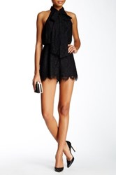 Do Be Lace Scalloped Tie In Neck Romper Black