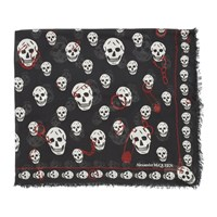 Alexander Mcqueen Black And White Pinned Skull Scarf