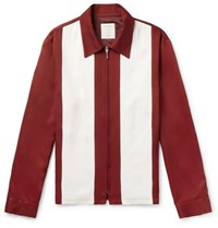 Sandro Two Tone Twill Zip Up Shirt Jacket Red