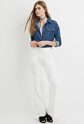 Forever 21 Contemporary Life In Progress Flared Jeans White