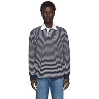 Saturdays Surf Nyc Grey And Navy Sanders Striped Polo