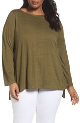 Eileen Fisher Plus Size Women's Organic Cotton Sweater Olive