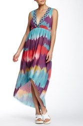 Sweet Pea V Neck Hi Lo Dress Multi