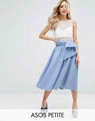 Asos Petite Scuba Prom Skirt With Bow Detail Blue