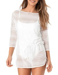 Anne Cole Boat Neck Crochet Tunic White