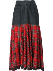 Moschino Vintage Panelled Tartan Skirt Red